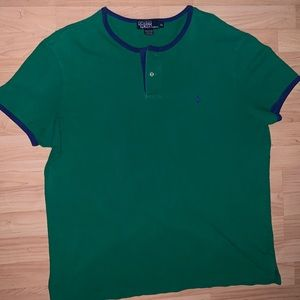 Vintage short sleeve polo shirt green and blue